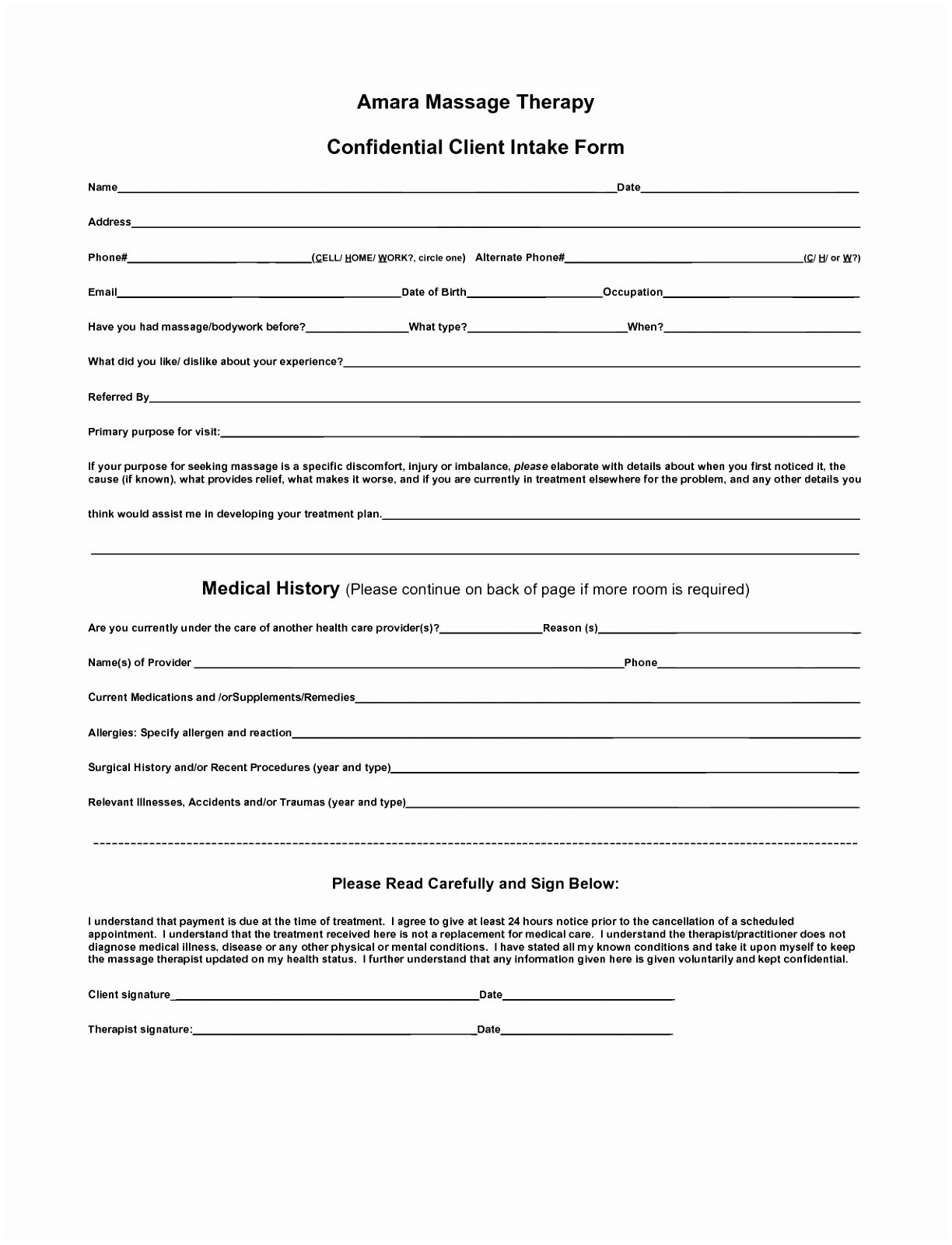 Printable Counseling Form Template