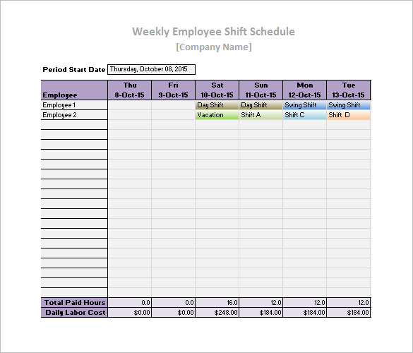 Printable Daily Work Schedule Template