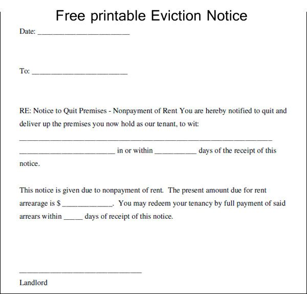 Printable Eviction Letter Template