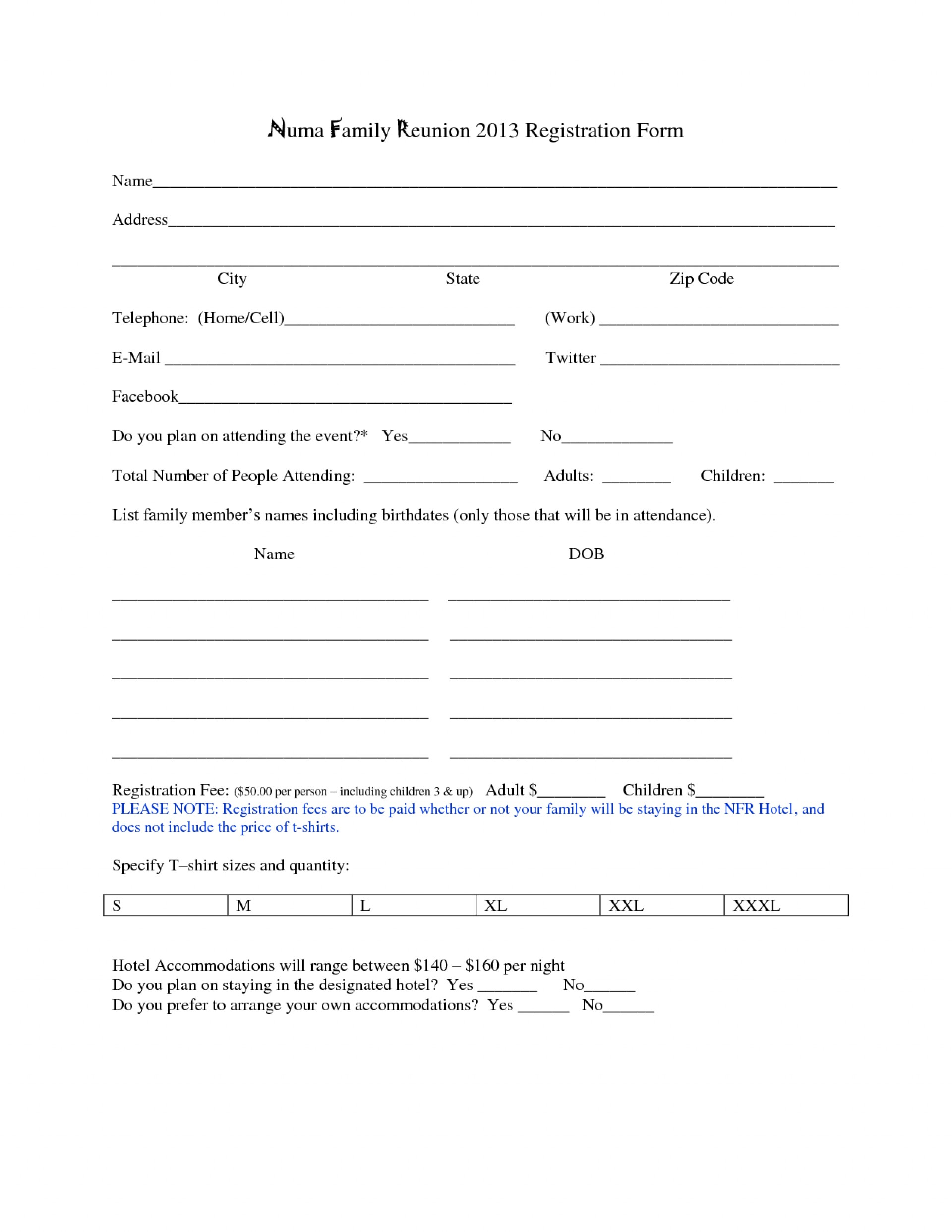 Printable Family Reunion Registration Form Template
