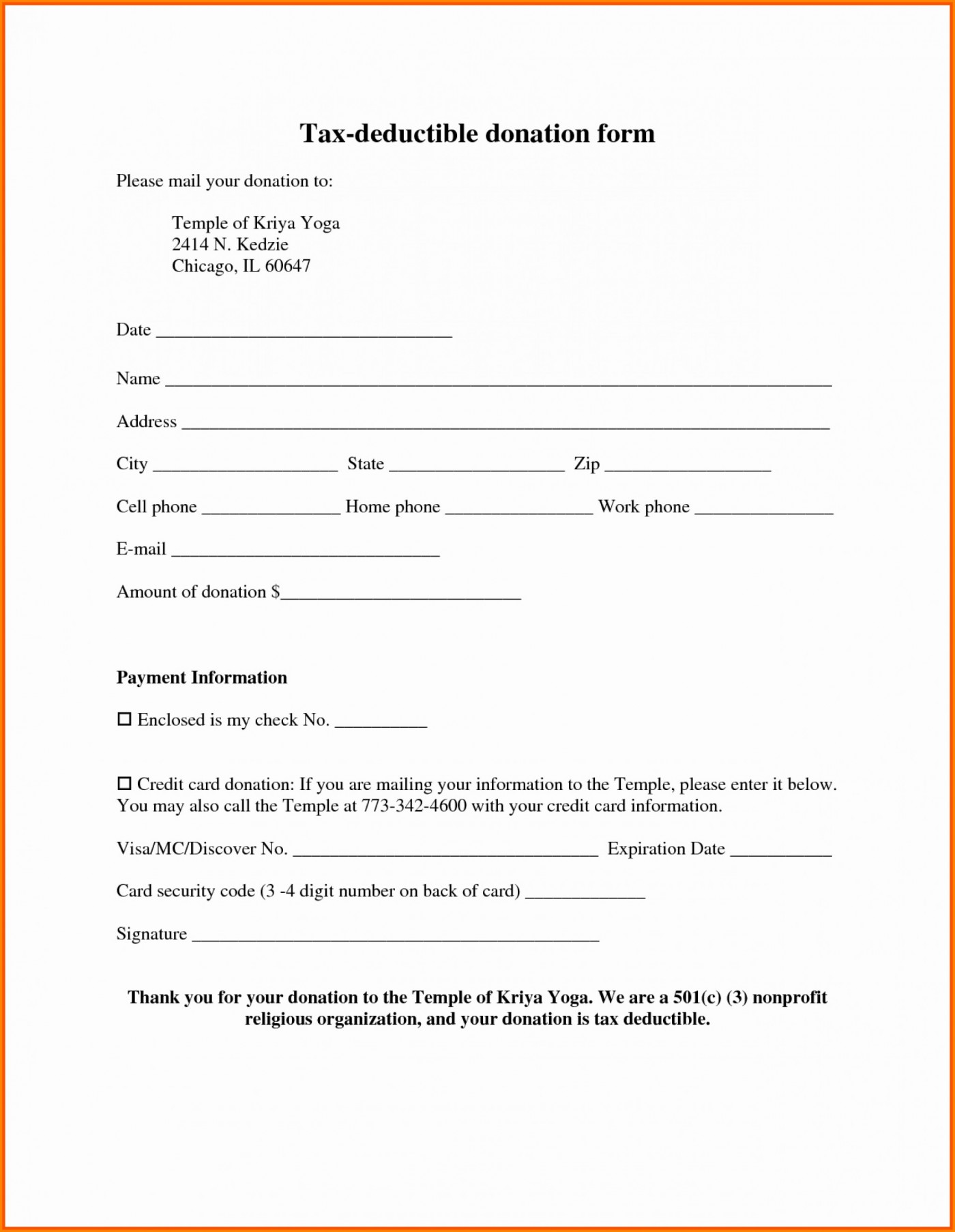 Printable Free Donation Request Form Template