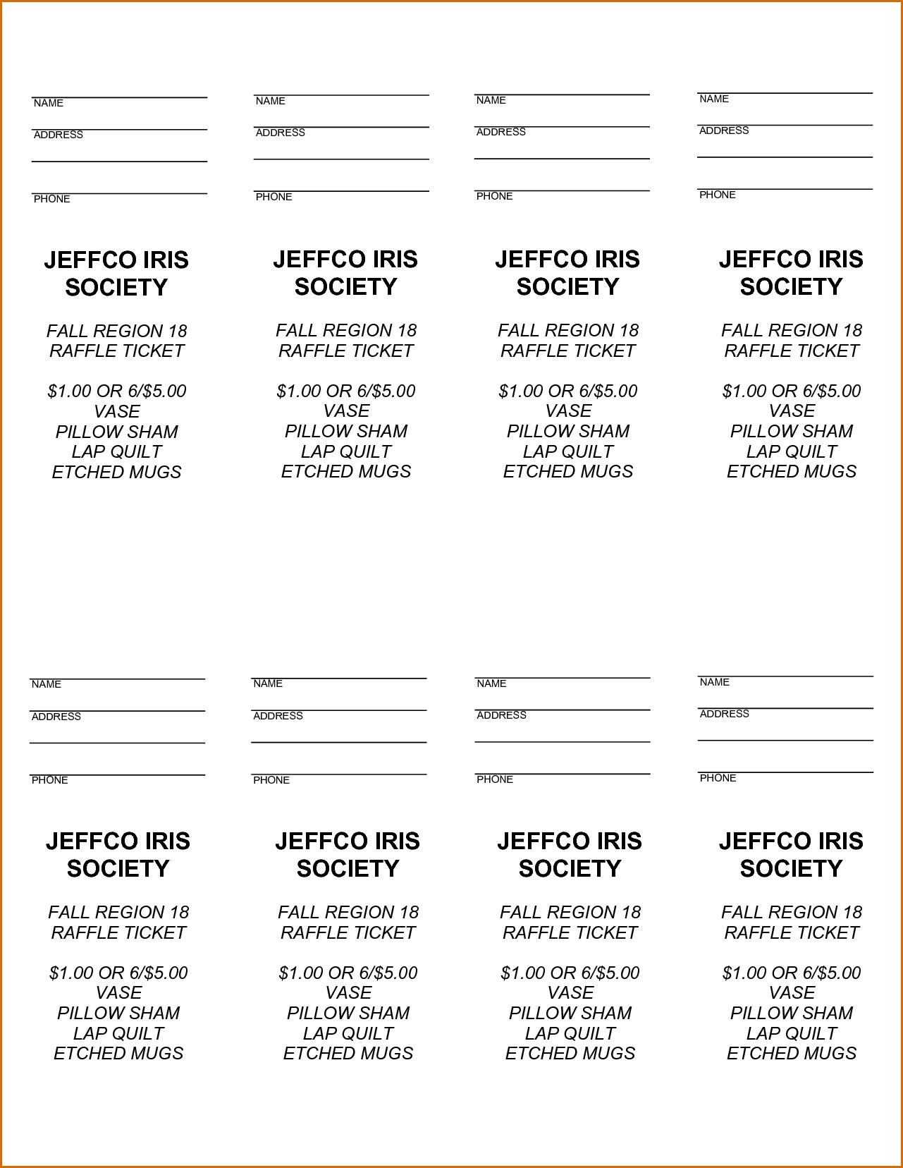 Printable Free Raffle Ticket Templates