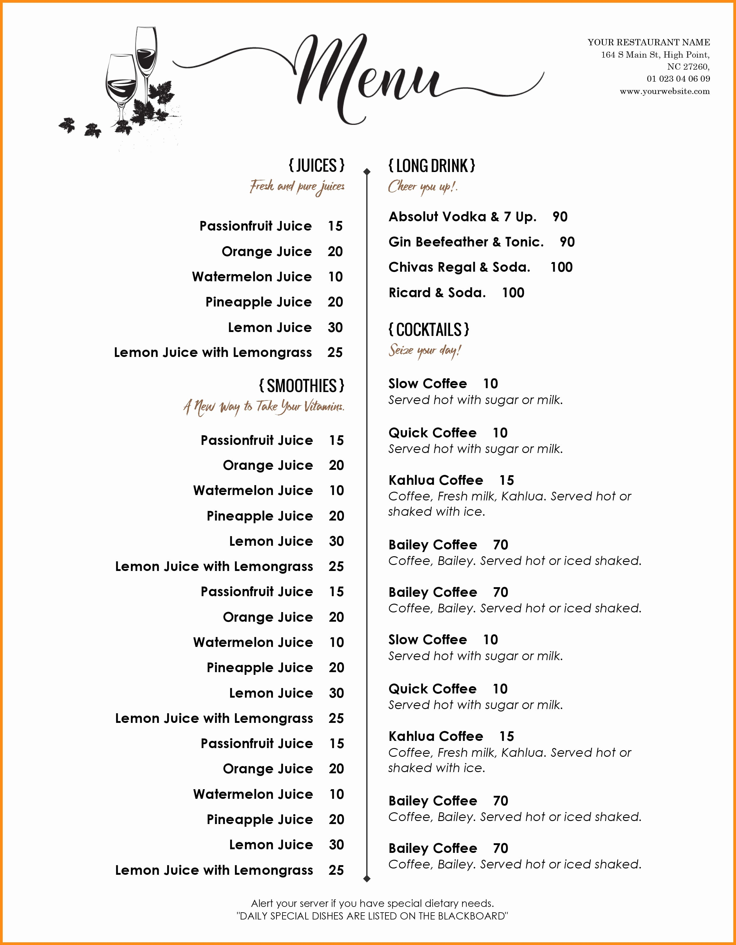 Printable Free Restaurant Menu Templates For Word