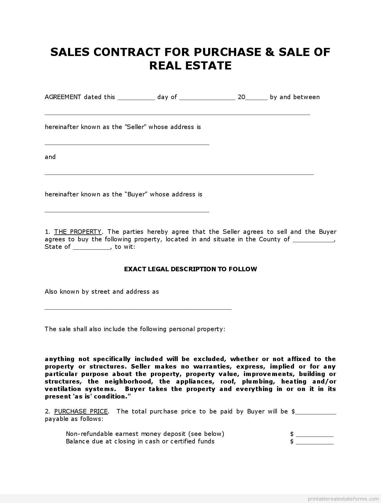 Printable Land Sale Contract Template