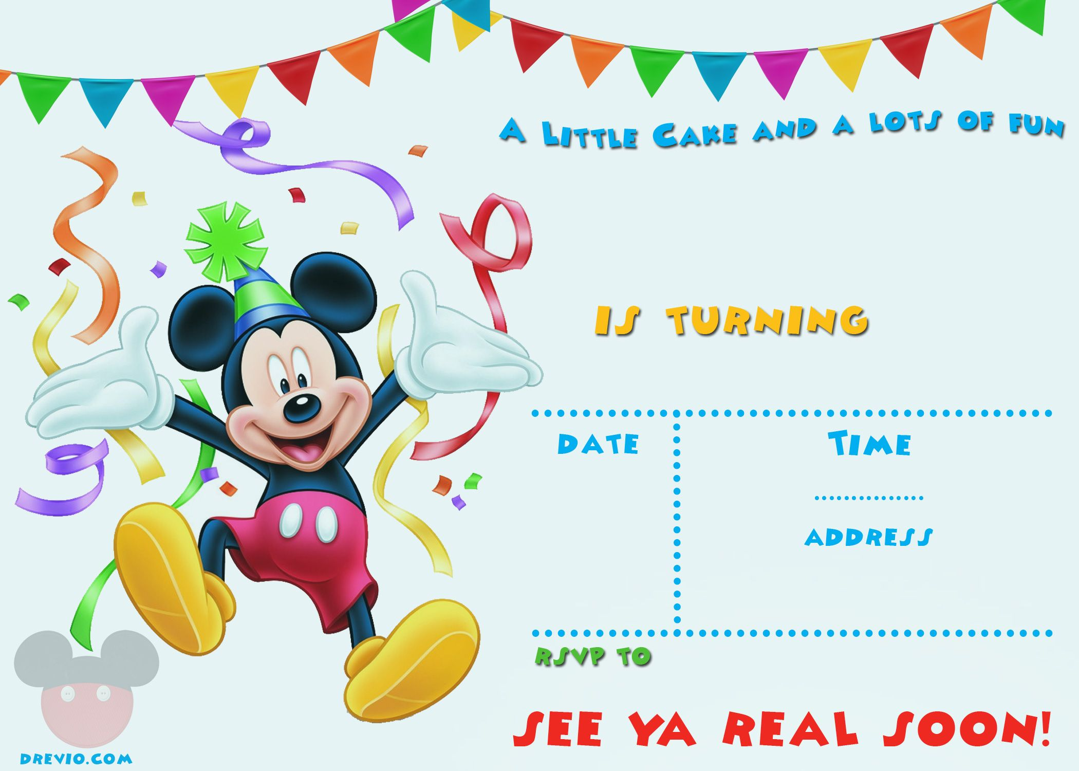 Printable Mickey Mouse Invitation Template