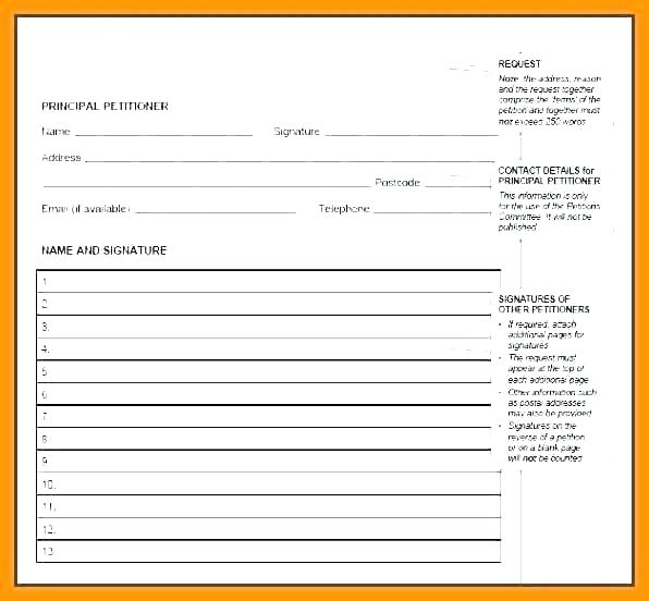 Printable Neighborhood Petition Template