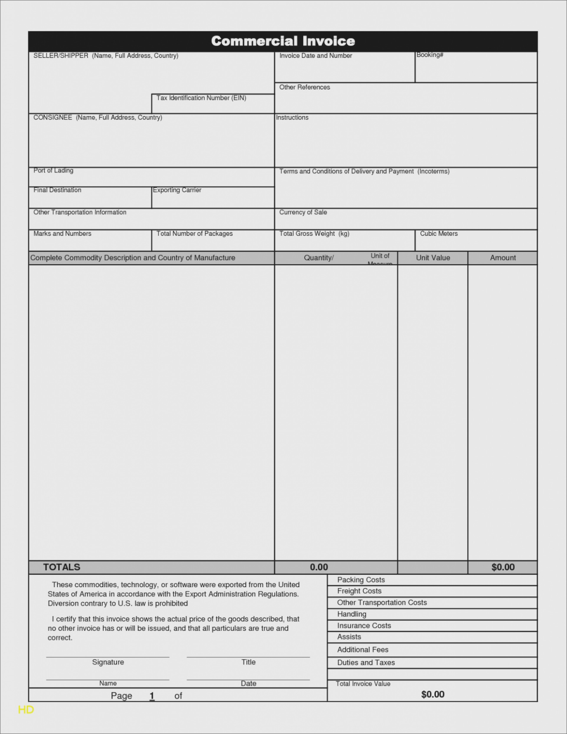 Printable Pdf Commercial Invoice Template