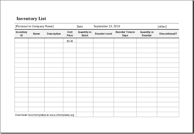 Printable Restaurant Inventory Template