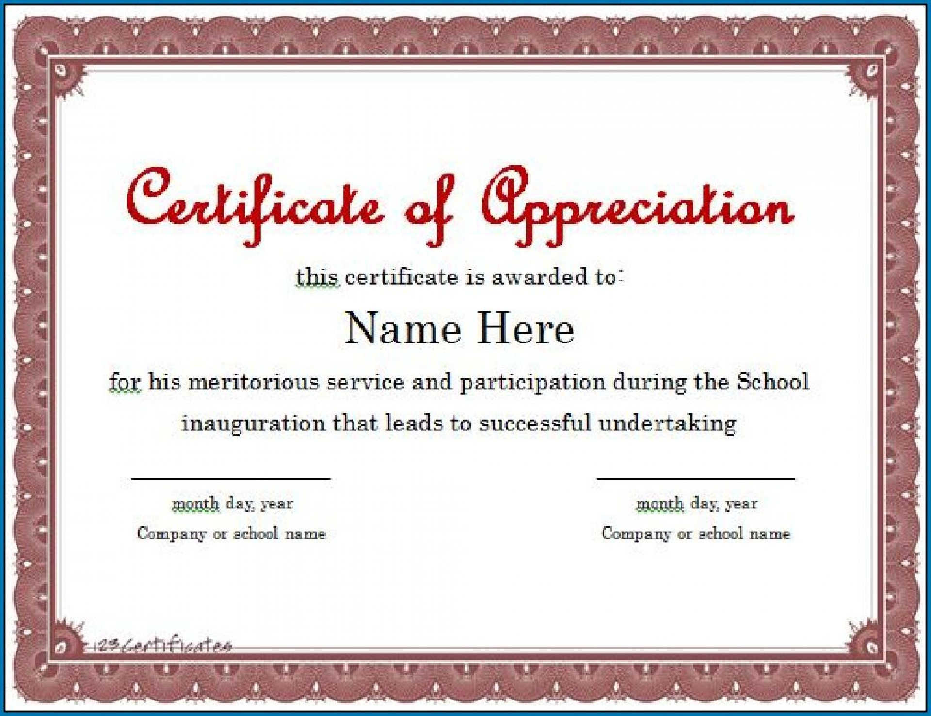 Printable Template For Certificate Of Appreciation