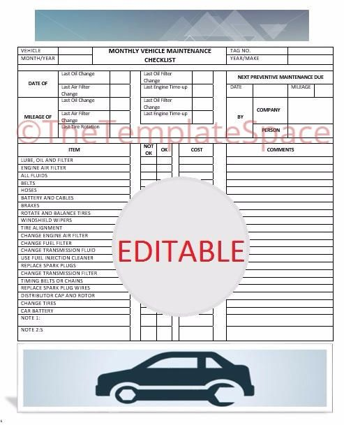 Printable Vehicle Maintenance Checklist Template