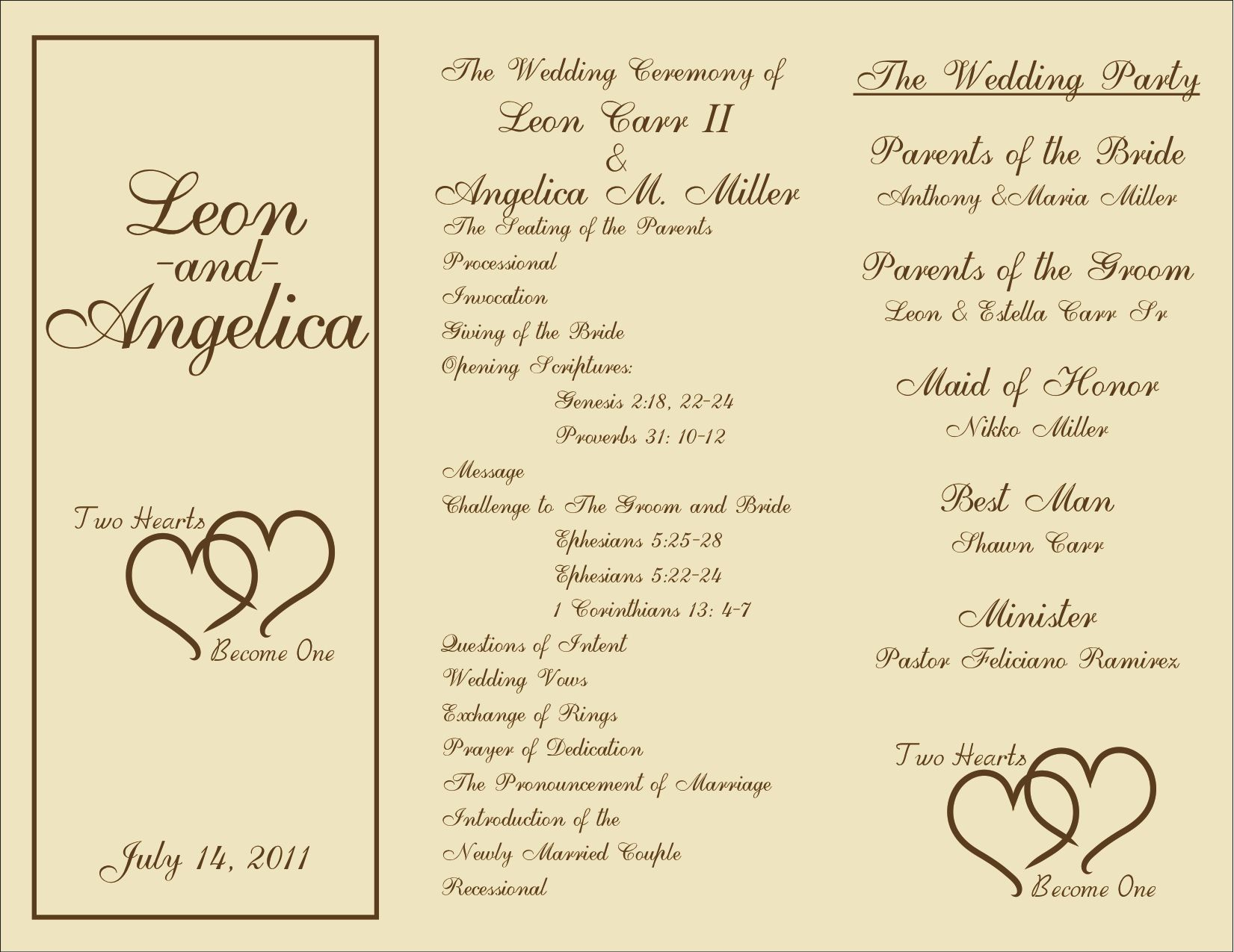 Printable Wedding Reception Program Template Free