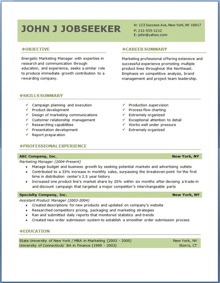 Professional Resumes Templates Free