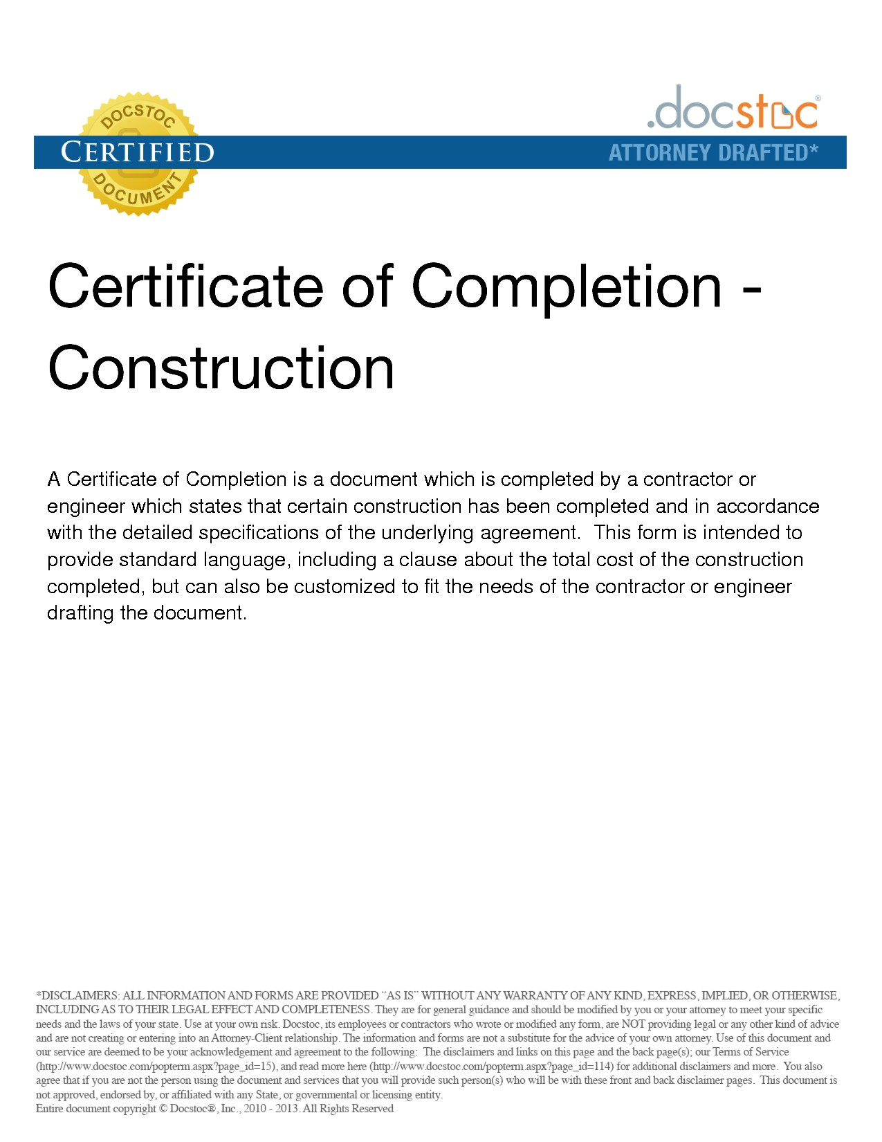 Project Completion Construction Certificate Of Completion Template