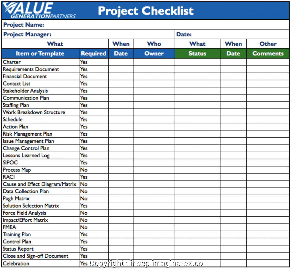 Project Management Checklist Template Free
