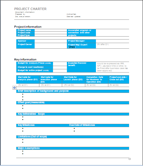 Project Management Pmbok Project Charter Template