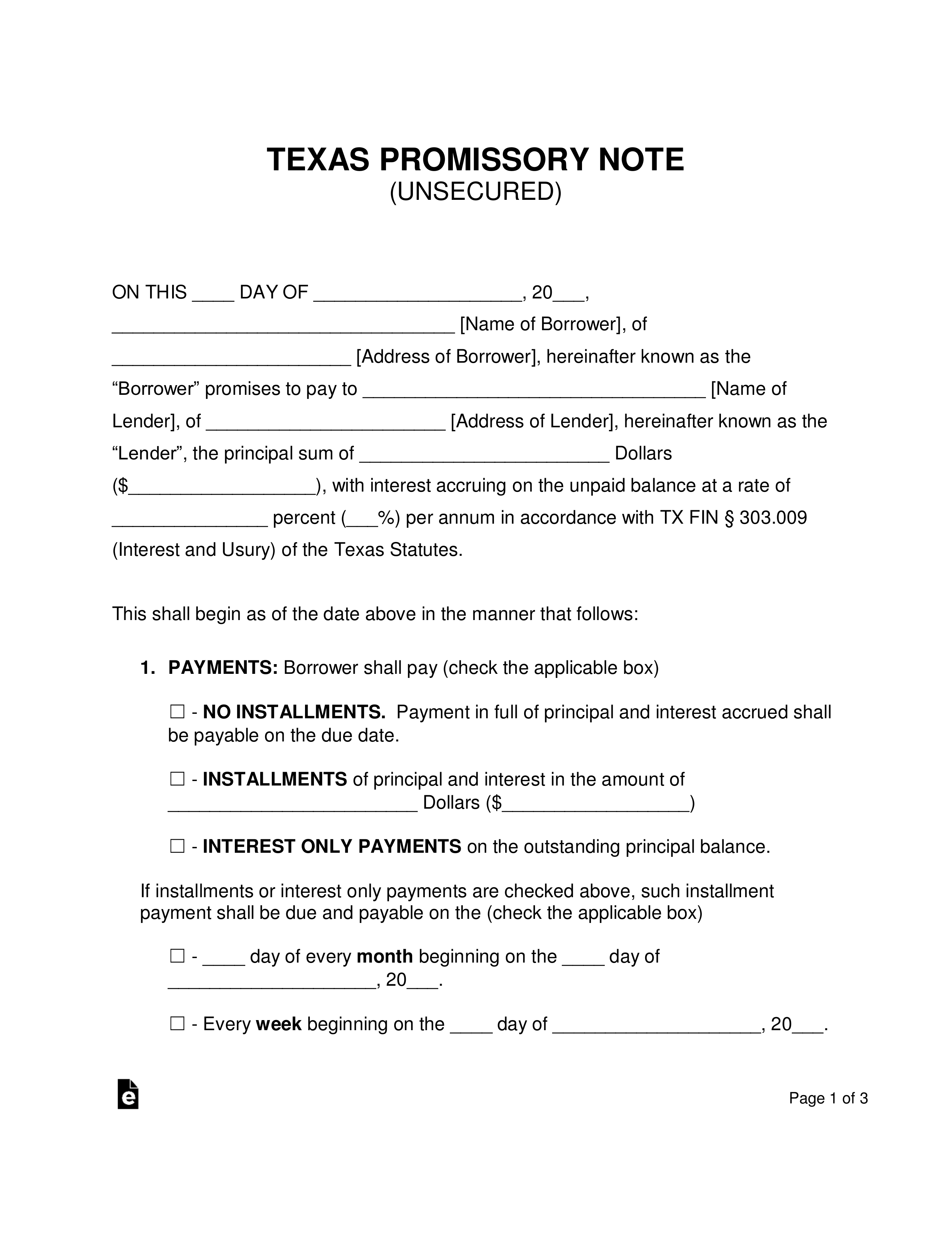 Promissory Note Template Texas Word