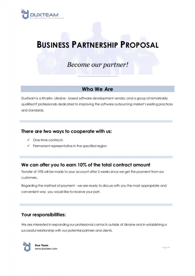 Proposal Template Business Partnership Proposal Sample