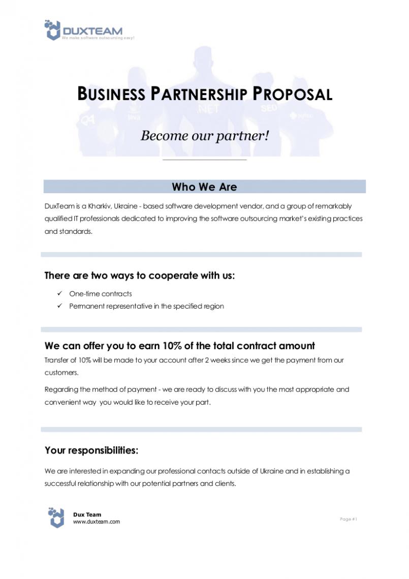 Proposal Template Business Partnership Proposal Sample