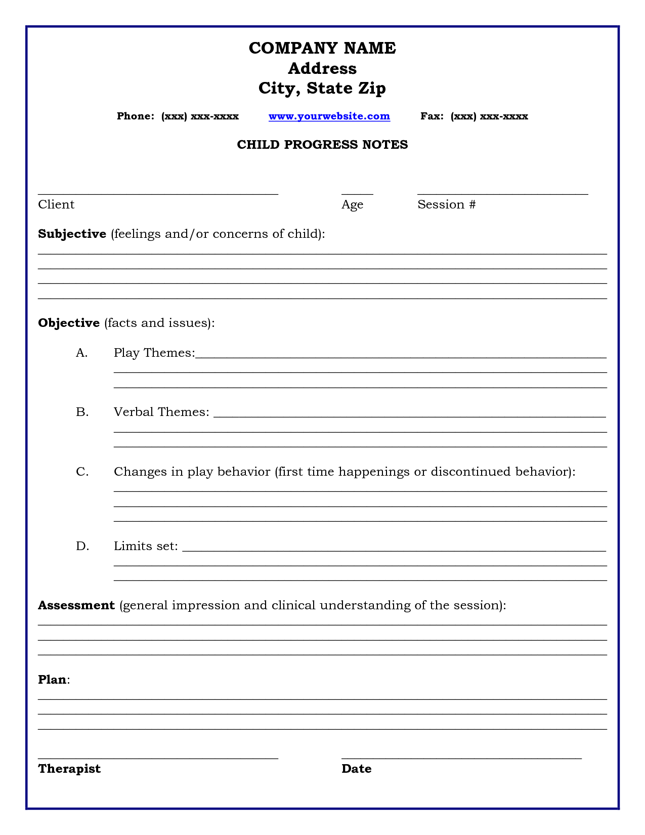 Psychotherapy Counseling Progress Note Template
