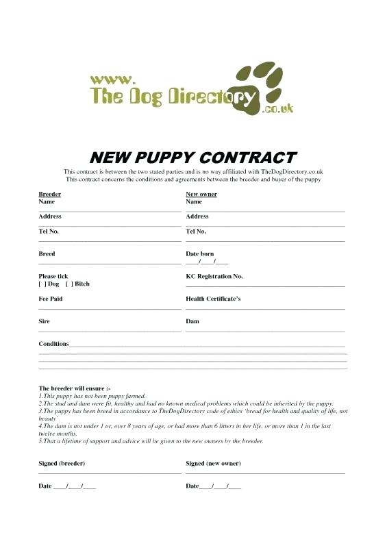 Puppy Purchase Agreement Puppy Sale Contract Templates
