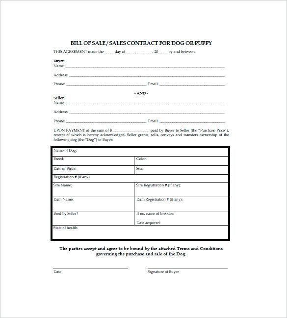 Puppy Sale Contract Templates Uk