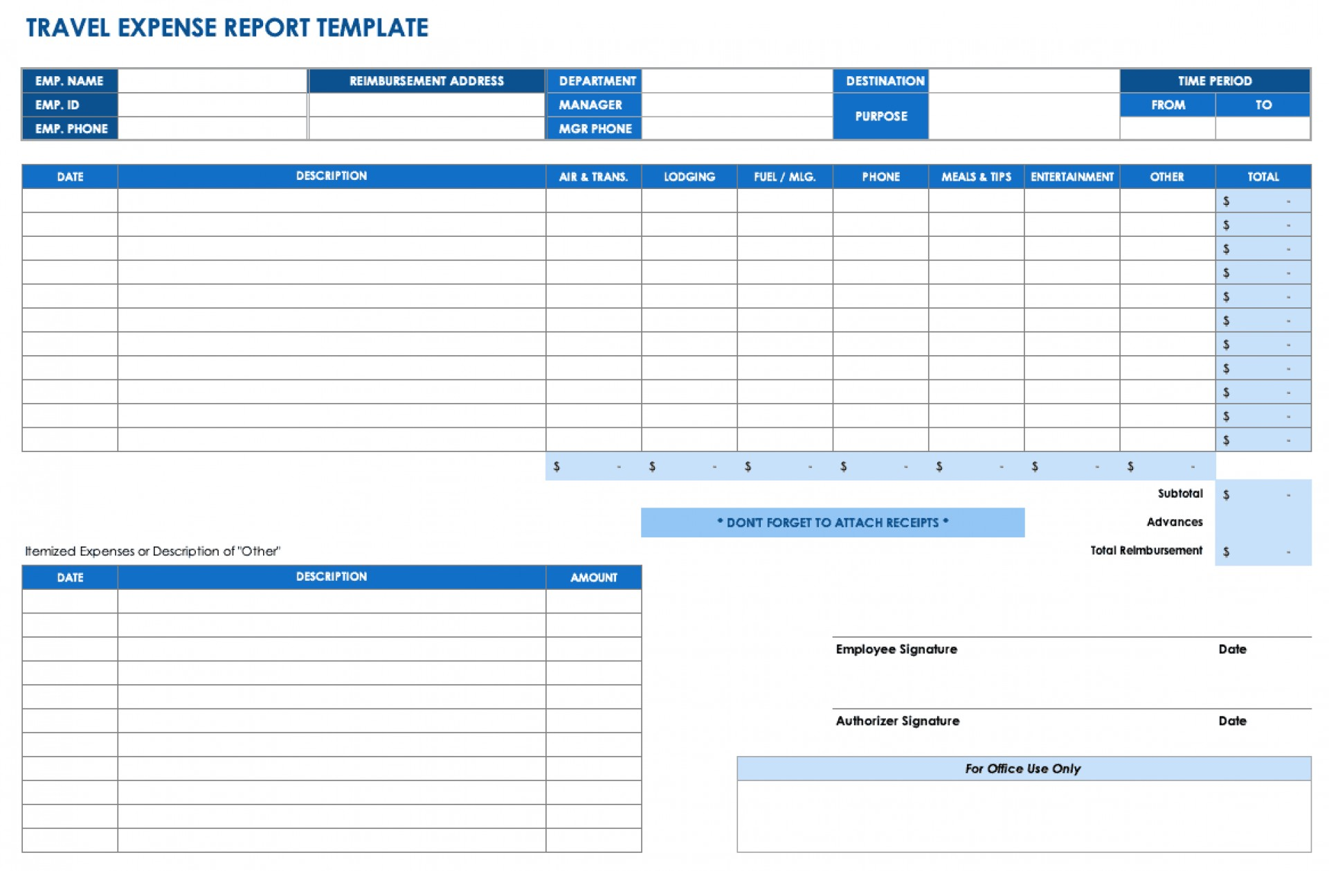 Quarterly Expense Report Template