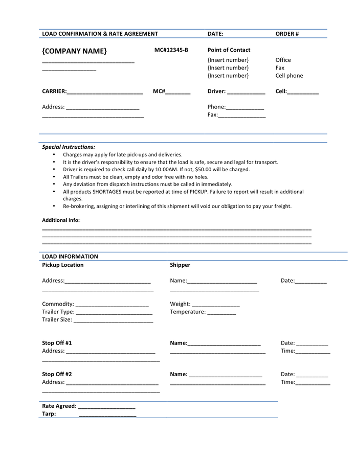 Rate Agreement Template