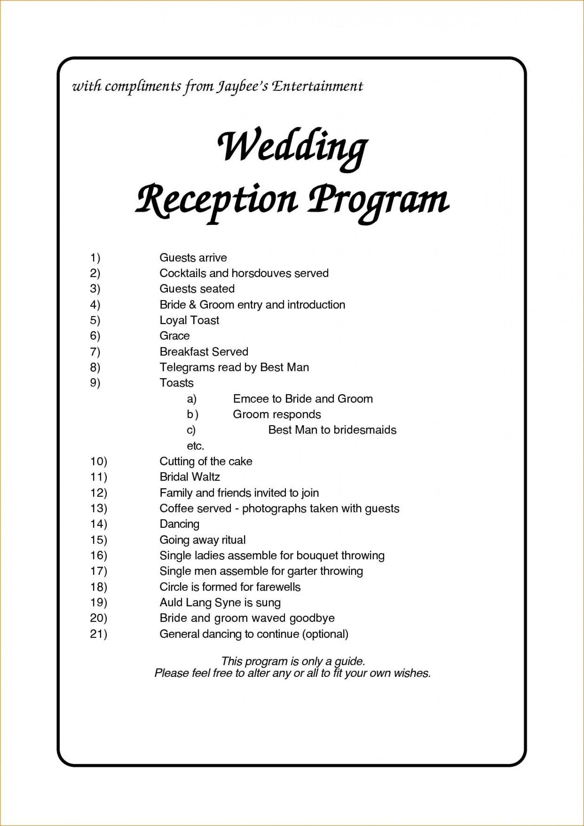 Reception Program Template