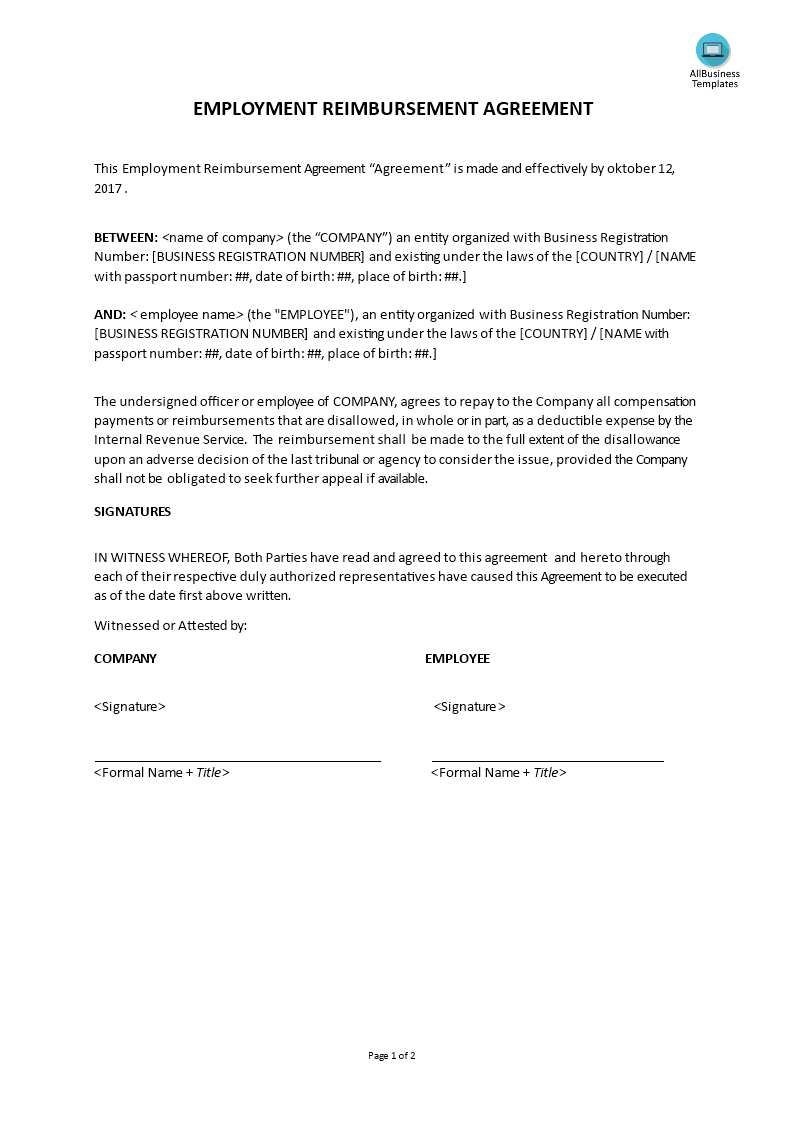 Reimbursement Agreement Template