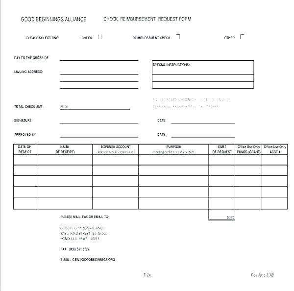 Reimbursement Expense Receipt Template Rer Form