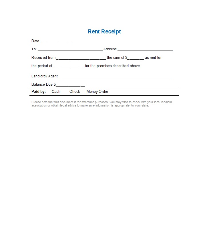 Rent Receipts Templates Free