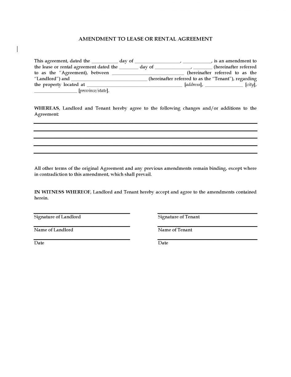 Rental Lease Amendment Template