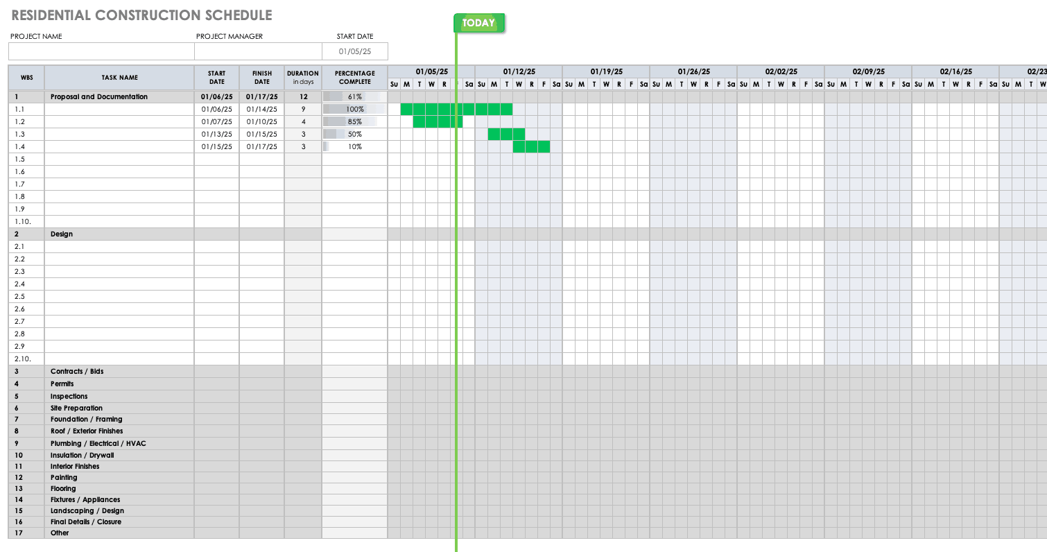 Residential Construction Schedule Template Ms Project