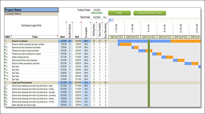 Residential Construction Schedule Template