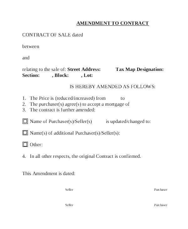 Residential Lease Amendment Template