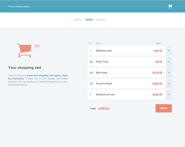 Responsive Shopping Cart Template