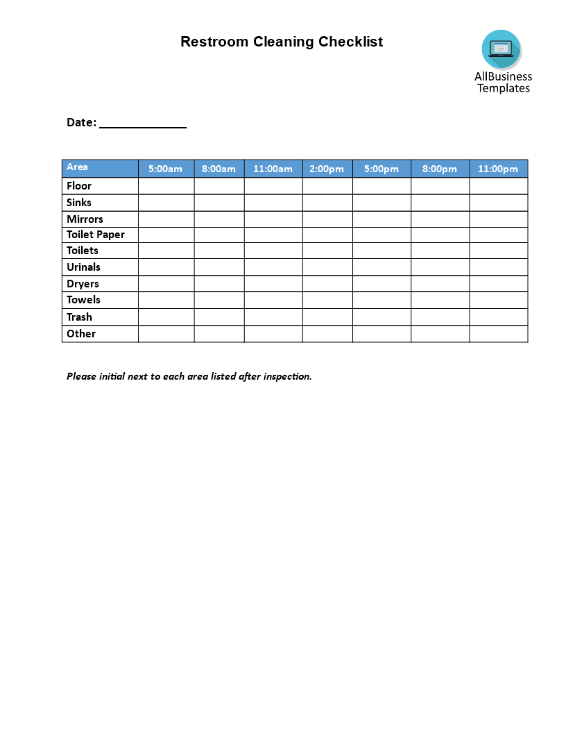 Restaurant Bathroom Cleaning Checklist Template