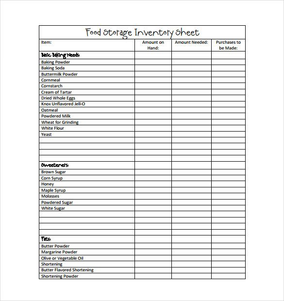 Restaurant Inventory Checklist Template