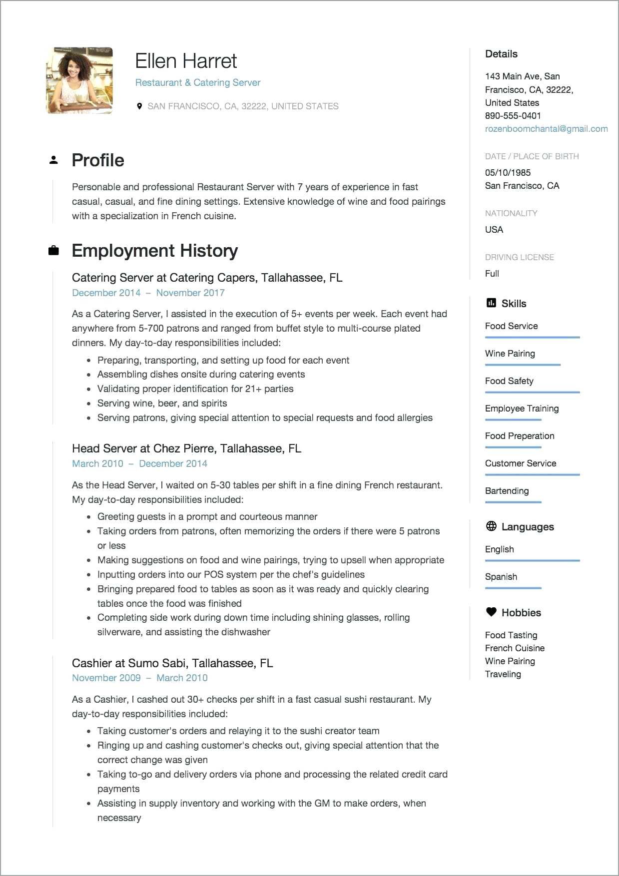Restaurant Server Resume Templates