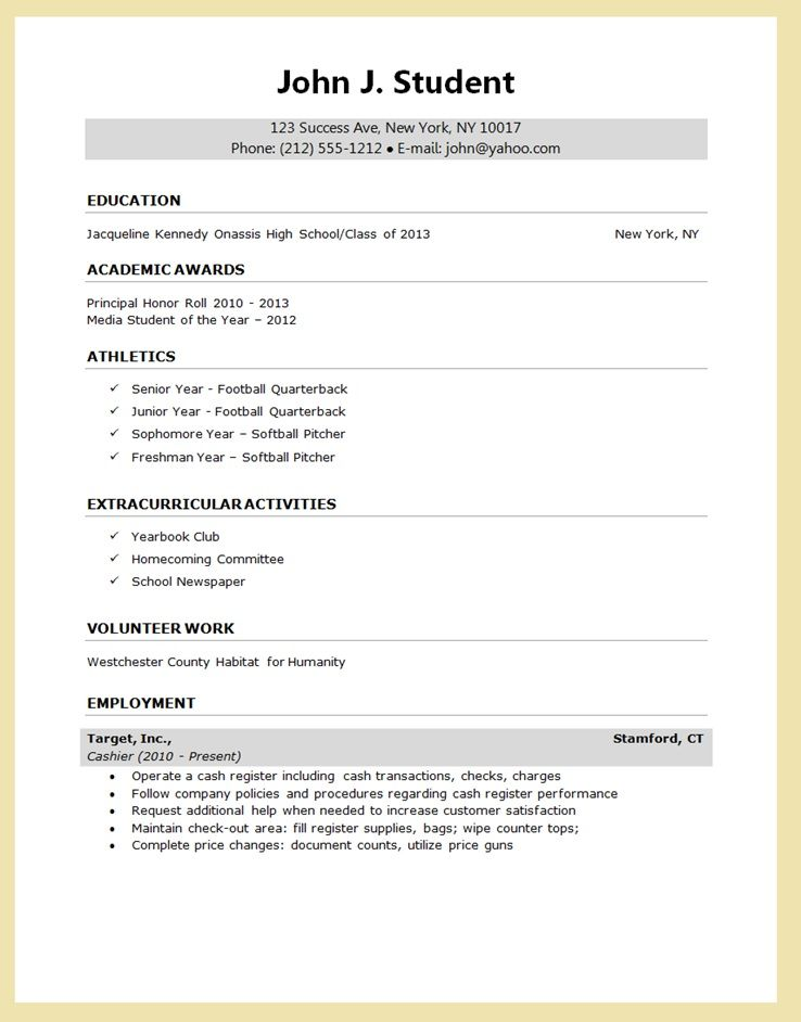 Resume Template For High School Senior