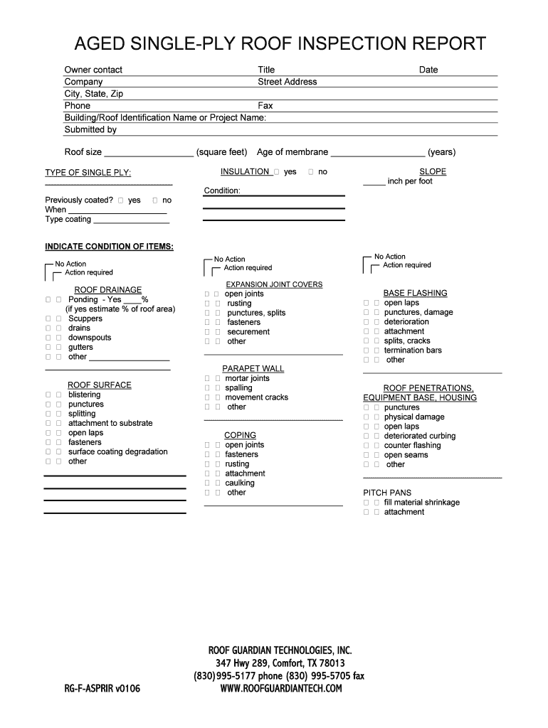 Roof Inspection Report Template Free