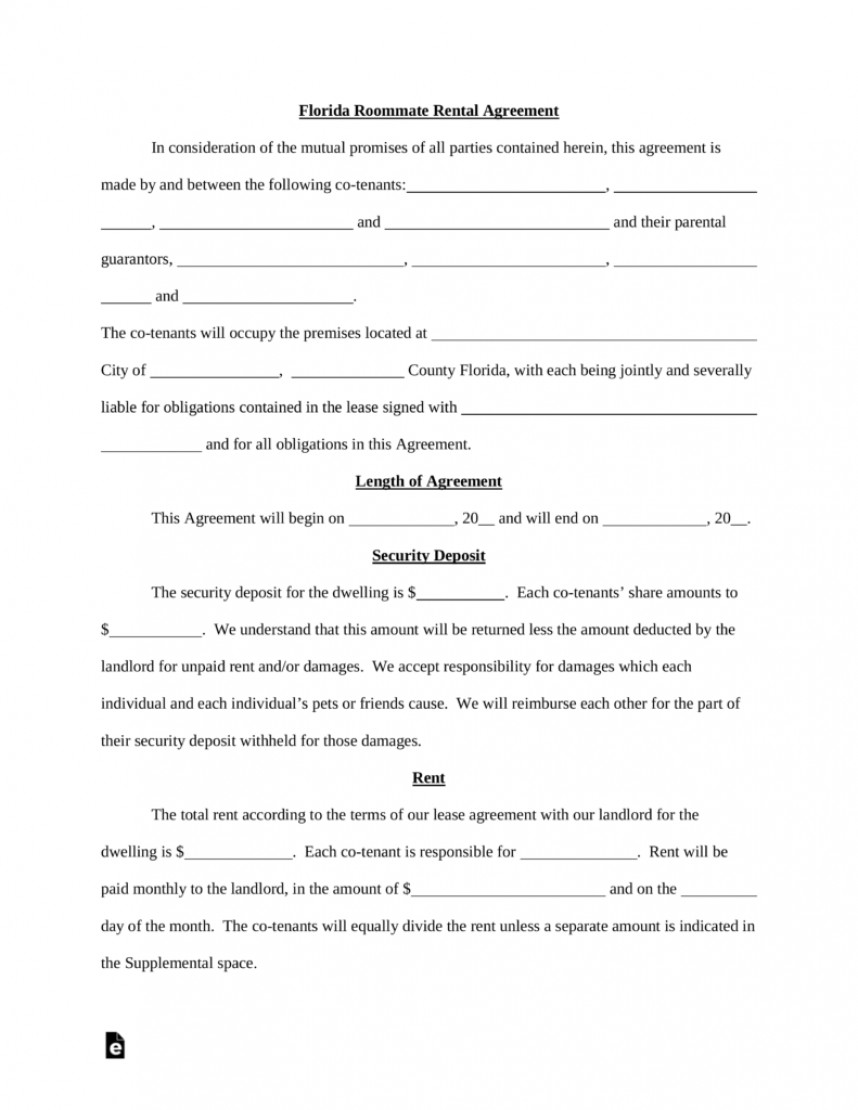 Room For Rent Lease Template