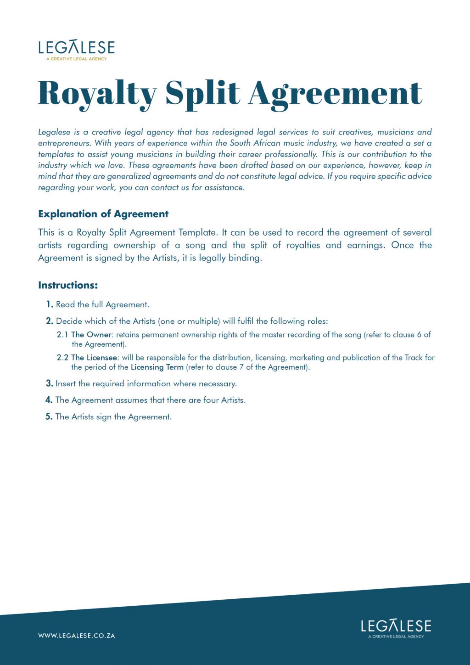 Royalty Split Agreement Template