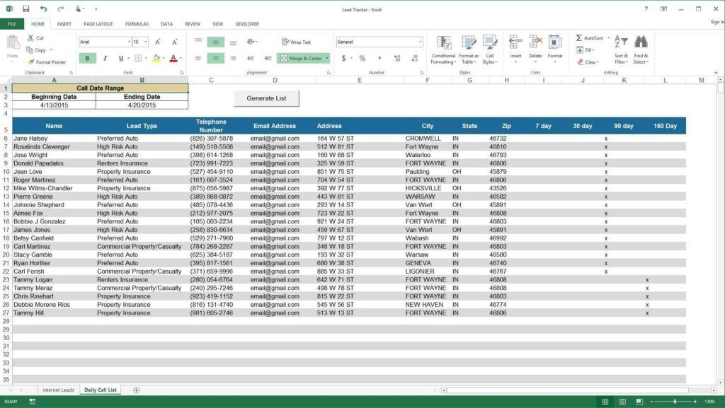 Sales Lead Tracking Excel Template