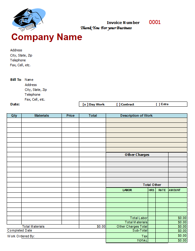 Sample Mechanic Invoice Template