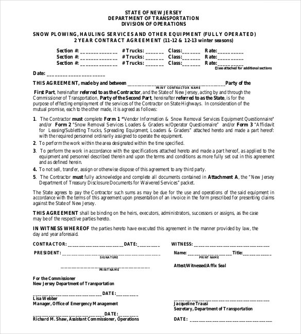 Seasonal Snow Plow Contract Template