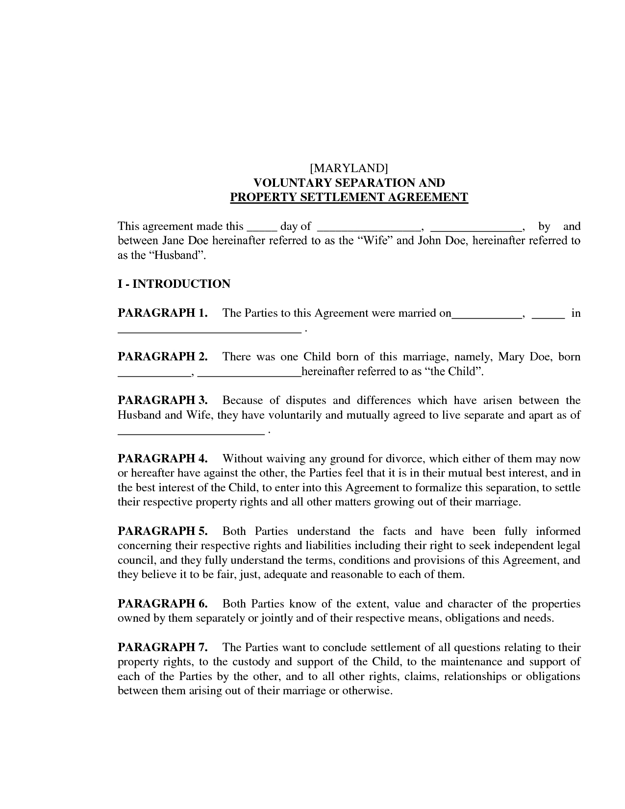 Separation Free Property Settlement Agreement Template