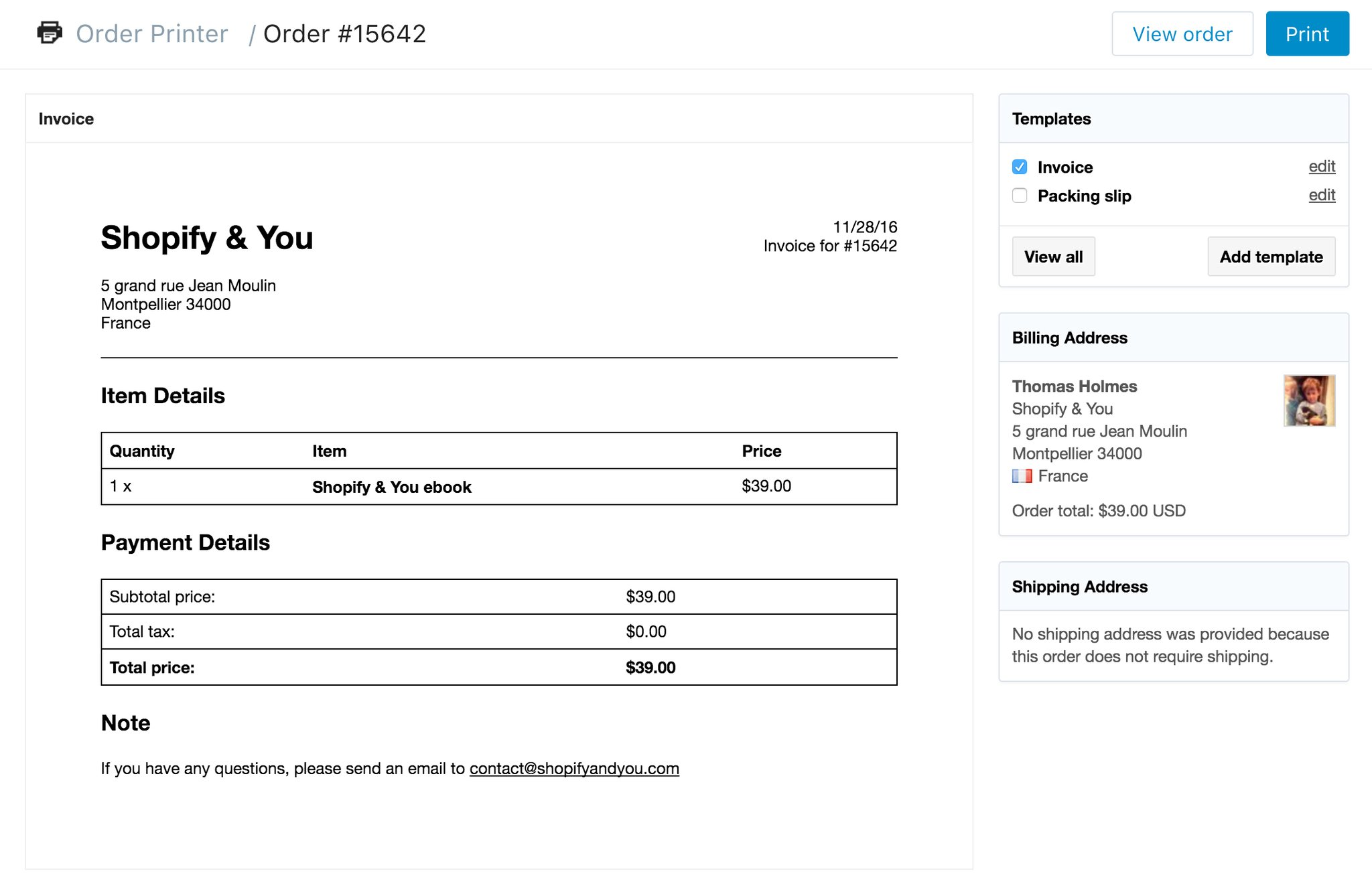 Shopify Invoice Template Code