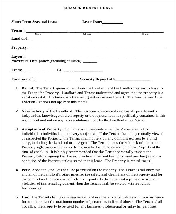 Short Term Rental Lease Template