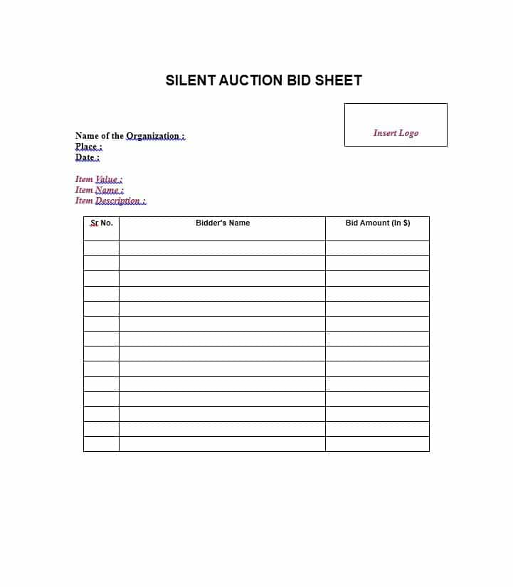 Silent Auction Bid Sheet Template Word Free